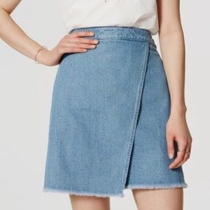 Loft Asymmetrical Denim Wrap Raw Hem Skirt